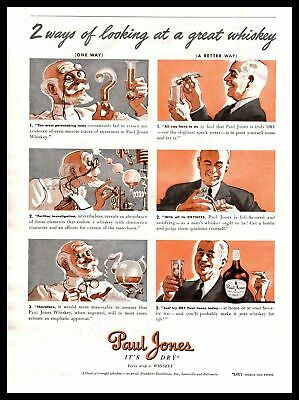 "1939 Paul Jones ""It's Dry"" 2 Ways Of Looking At A Great Whiskey Vintage Print Ad"
