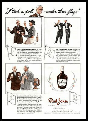 "1939 Paul Jones ""Every Drop Is Whiskey"" I Took A Poll Under 3 Flags Print Ad"
