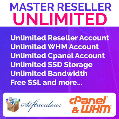 UNLIMITED SSD MASTER RESELLER HOSTING 🔥 $0,99 first month 💖LICENSED CPANEL WHM