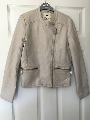 Girls Age 12yrs Faux Leather Cream Bikers Jacket Designers By Debenhams Exc Cond
