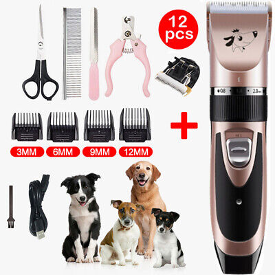 USB Cordless Electric Pet Cat Dog Grooming Clipper Hair Trimmer Shaver Kit Quiet