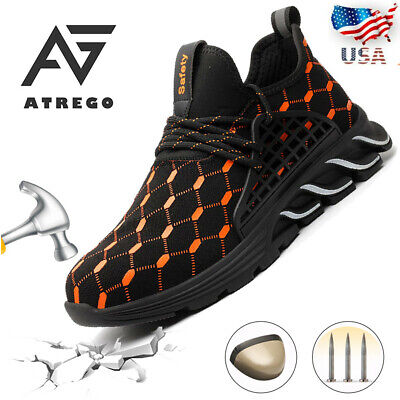 AtreGo Men Safety Boots Work Cap Toe Labor Shoes Outdoor Hiking Workwear Light