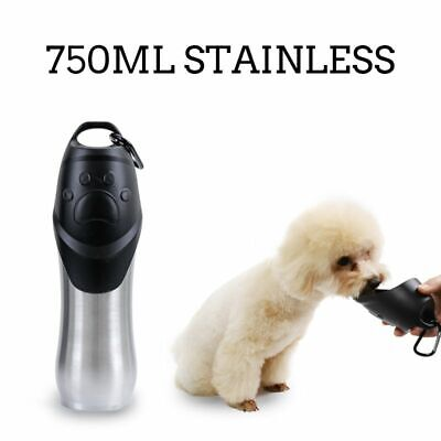Dog Water Bottle Steel Portable Pet Cat Drinking Puppy Travel Outdoor Bowl 750ml