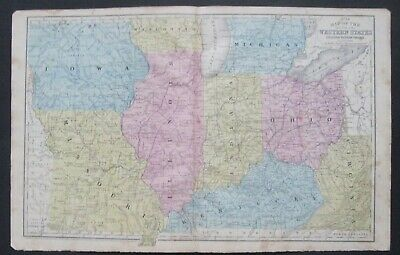 1852 Mitchell Map:Western States:IA,MO,IL,IN,OH,KY part WI,MI & NE,KS.&Ind.Terr.