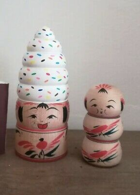 KOKESHI Japanese Doll vintage antique Teruyuki Hiraga Wood Japan traditional Set