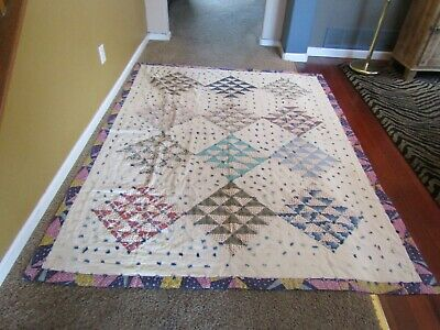 Vintage QUILT- 62 x 82 - Very Nice - Unique one of a kind!