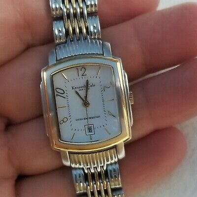 Kenneth Cole Mens Or Womens Unisex Square Case Silver & Gold Watch NEW BATTERY