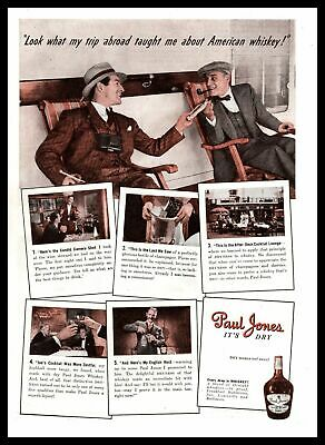 "1939 Paul Jones ""What A Trip Abroad Taught Me About American Whiskey"" Print Ad"