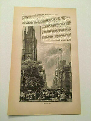 K105) View of Lower Broadway New York City Harper's Monthly 1878 Engraving