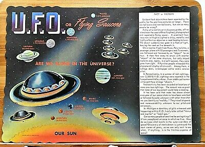 Rare Original 1968 Ufo Or Flying Saucers Are We Alone In The Universe? Placemat