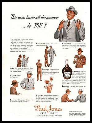 "1939 Paul Jones Whisky ""This Man Knew All The Answers. Do You?"" Vintage Print Ad"