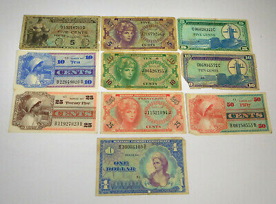 Lot Of 10 Miscellaneous U.S Military Pay Certificates