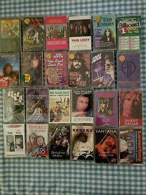 Lot of 50+ Classic Rock Cassettes New/Sealed Old Stock Great Artists & Songs