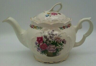 Crown Dorset Teapot  Staffordshire England  Spring Flowers Roses  Purples Pinks