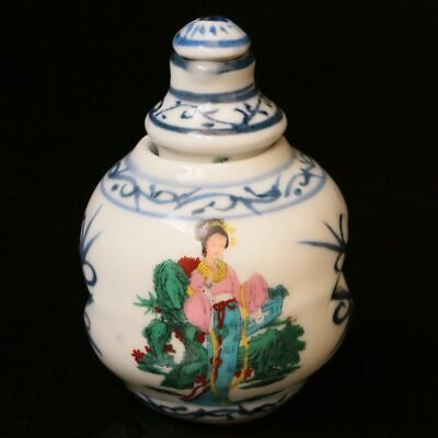 Chinese Exquisite Porcelain Handmade Painting Beauty Snuff Bottles