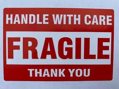 "50 (Fifty) FRAGILE Handle With Care Stickers 2"" x 3"" Self Stick Shipping Labels"