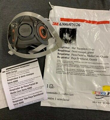 3M 6300 Half Facepiece Respirator Size: Large (NO FILTERS)