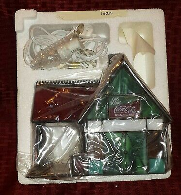 Coca Cola Stained Glass Gas Station Light Up Building MIB
