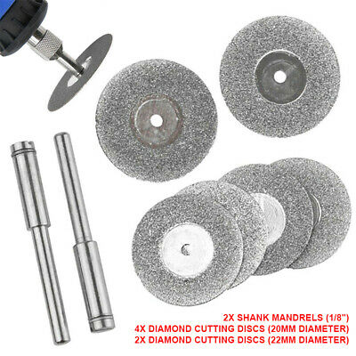1 Set Diamond Coated Cutting Discs Small Mini Cut Wheels + Drill Bit Shank