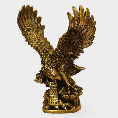 Chinese Old Brass Copper spread the wings Hawk Eagle Bird Figures Statue  w308