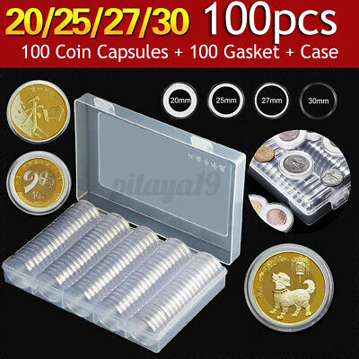 100pcs Coin Storage Box Case Capsules Holder Clear Plastic Round 20mm 25mm 27mm