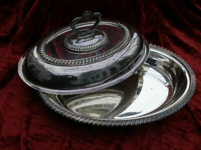 Antique / Vintage Silver Plated  Entree Serving Dish Tureen Beaded Edge