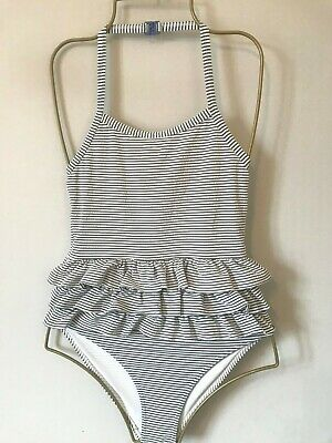 Girls Blue & White MINI BODEN Frill Swimsuit Age 9-10 Years - Costume Striped
