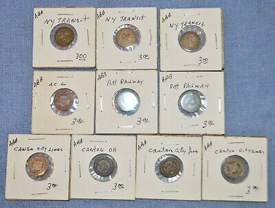 Lot of 10 Transportation Tokens - NY Transit, Pittsburgh Railway & More...