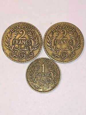 1921-1941 Tunisie 3 Coin Lot 2 Franc, 1Franc Ungraded Circulated