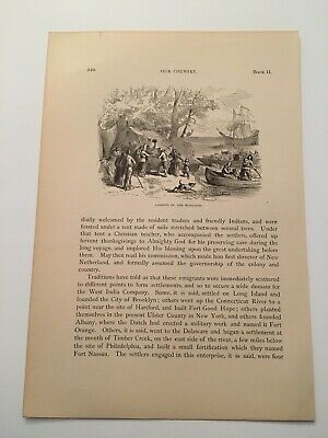 T13) Landing of the Dutch Walloon Settlers New York City c. 1878 Engraving