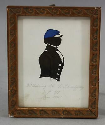 Antique US Military Ink, Watercolor Signed Miniature Portrait Painting Blue Kepi