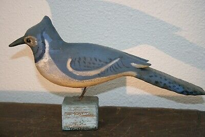 Antique Blue Jay Bird Primitive Folk Art Wood Carving Original Paint Decoy Old