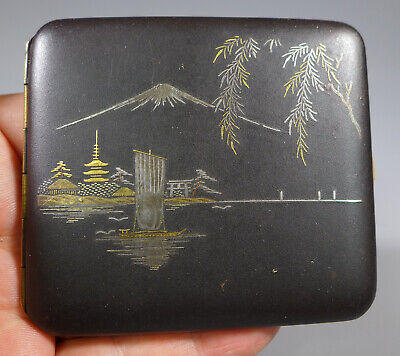 Vintage Japanese Gold And Silver  Inlay Mixed Metal Komai Cigarette Case K24