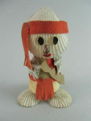 Japanese Clam Girl Kokeshi Doll Shell Figurine White Vtg Ningyo Red OK870