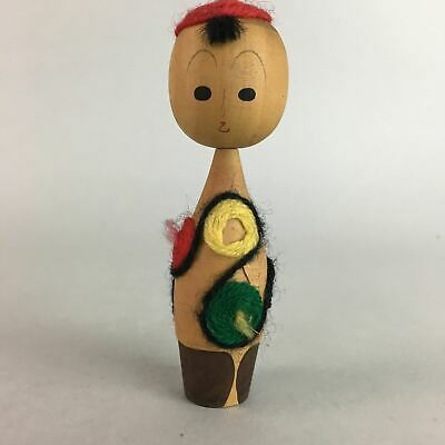 Japanese Kokeshi Doll Vtg Wood Carving Figurine Child Woolen Yarn KF149