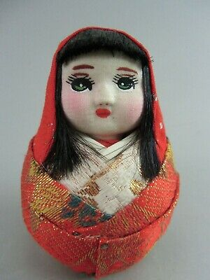 Japanese Kimono Girl Kokeshi Doll Figurine  Woman Red Ornament Vtg Ningyo OK860