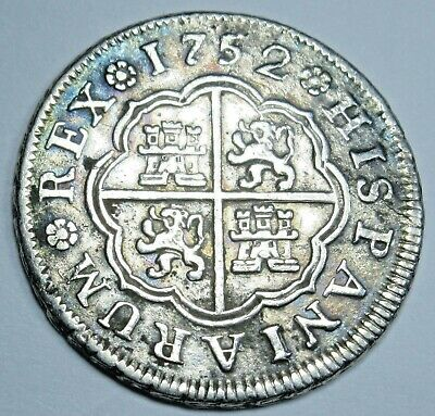 1752 Spanish Silver 1 Reales Antique 1700's Colonial Cross Pirate Treasure Coin