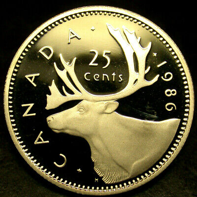 1986 CANADA 25 Cents ULTRA HEAVY CAMEO Quarter Dollar FROSTED Proof GEM!