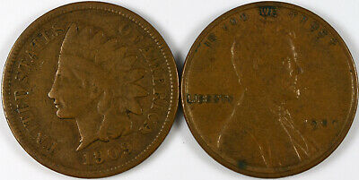 1909 Indian Head Cent, 1909 VDB Lincoln Wheat Cent Lot