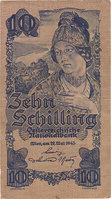 1945 10 Schilling Austria Currency Banknote Note Money Bank Bill Cash Wwii Rare