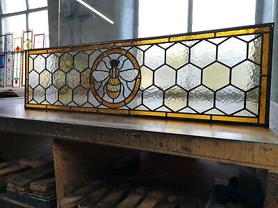 Manchester Worker Bee Traditional Stained Glass Fanlight Window, made to measure