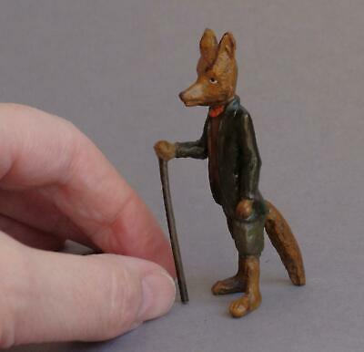 Vintage COLD PAINTED BRONZE Miniature MR FOX with WALKING STICK Anthropomorphic