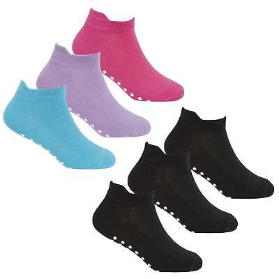 Kids Girls 3 Pack Trainer Liners Yoga Sport Gripper Sole Socks