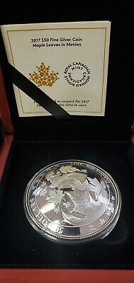 2017 Maple Leaves in Motion $50 5OZ Pure Silver Convex Coin Canada Mintage 2000