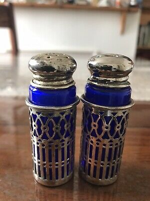Vintage Cobalt Blue Glass Silver Plated Salt And Pepper Shakers