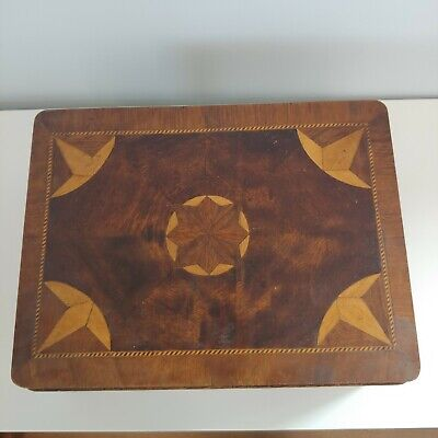 Antique Marquetry Inlaid Sewing Document Box Star Contents