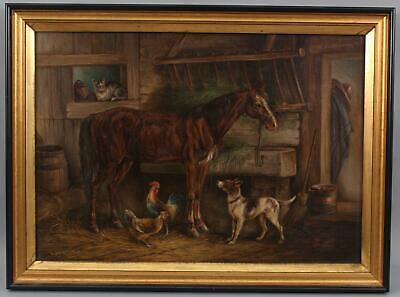 19thC Antique ANTHONY HOCHSTEIN, Horse Chickens Cat & Dog Farm Barn Oil Painting