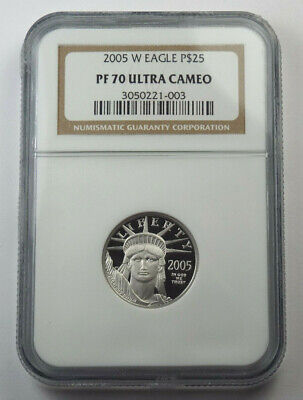 2005-W $25 American Platinum Eagle Proof 1/4 Oz Ounce .9995 Fine NGC PF70 UC