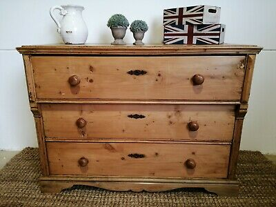 Antique country cottage style Pine Chest of Drawers solid heavy drawers