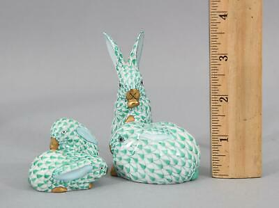 2 Authentic Signed Herend Figurines Rabbit Bunny Family Miniature Green Fishnet